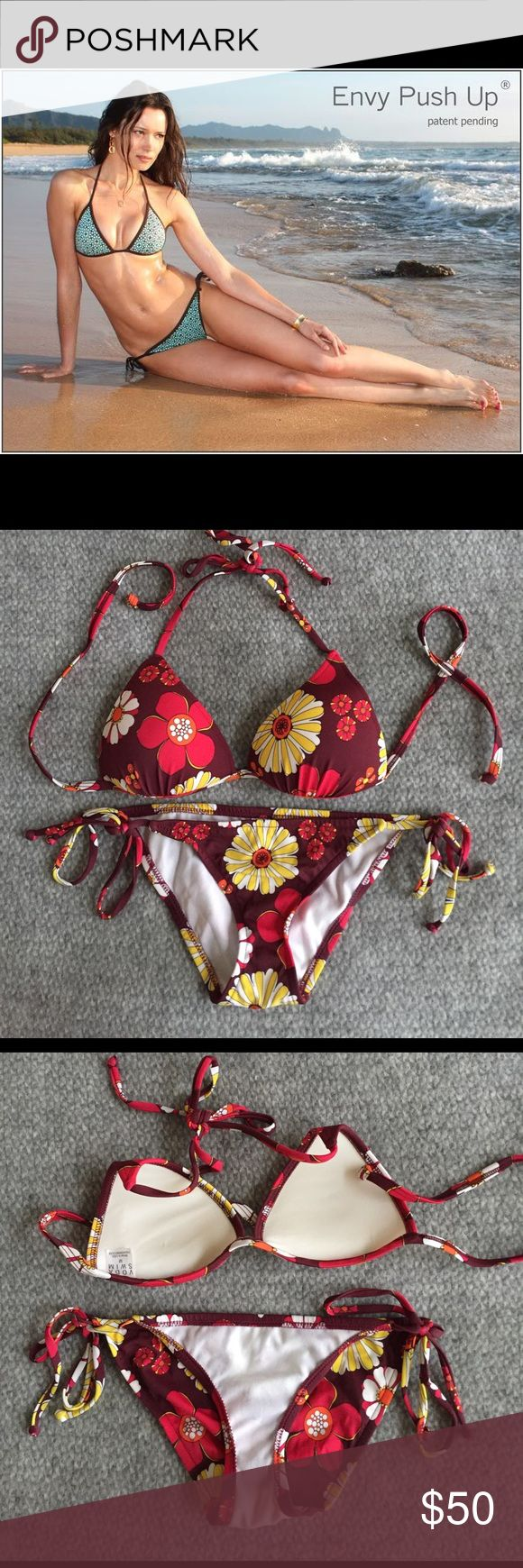 🌿Voda Swim🌿 Beautiful, sexy bikini by Voda Swim (google to get more info) in like new condition. 1 to 2 Cup Sizes Bigger! Looks just like a regular bikini. Gives breasts amazing cleavage, lift and support. Very low water absorbency. No sagging when wet. No under wiring. Refer to sizing pic. Both top and bottom are a Medium but it fits like a Small for bottom and A/B cup on top. Side strings are adjustable not fixed. Fee free to ask questions. Cross posted 🌿Ⓜ️🌿 Voda Swim Swim Bikinis