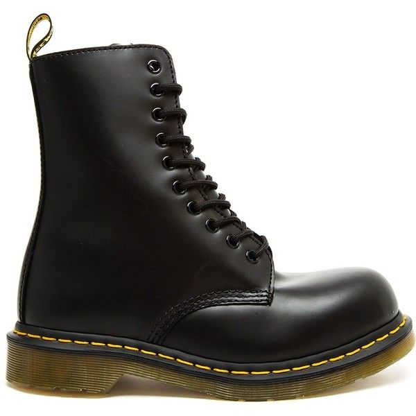 DR. MARTENS Limited Edition Yohji Yamamoto 10 Eye St Boots ($235) ❤ liked on Polyvore featuring shoes, boots, ankle booties, black lace up boots, safety toe caps, black boots, black lace up booties and black leather ankle booties
