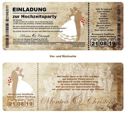 Schön Details Zu Einladungskarte N Hochzeit   Ticket Mit Abriss Coupon | Hochzeit