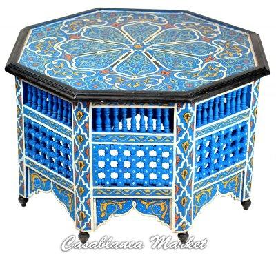 Blue Handpainted Coffee Table - Tables & Nightstands - Casablanca Market