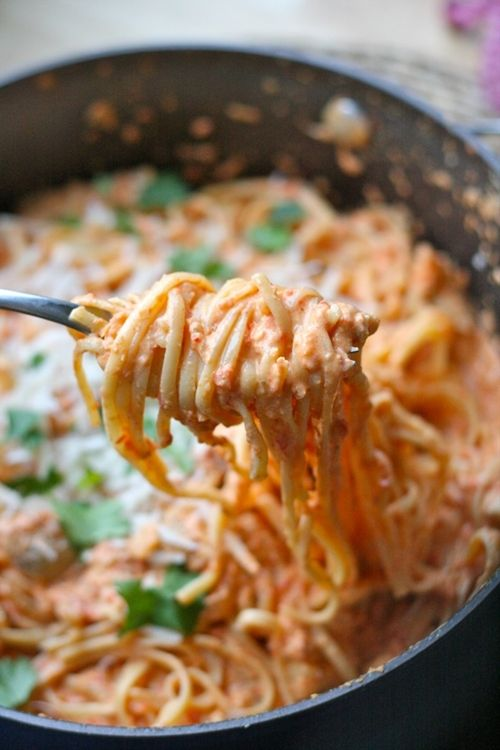 Roasted Red Pepper & Goat Cheese Alfredo