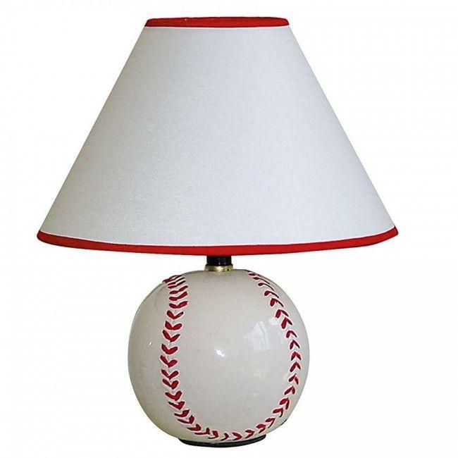 ORE International Ceramic Baseball Table Lamp, White - 604BB