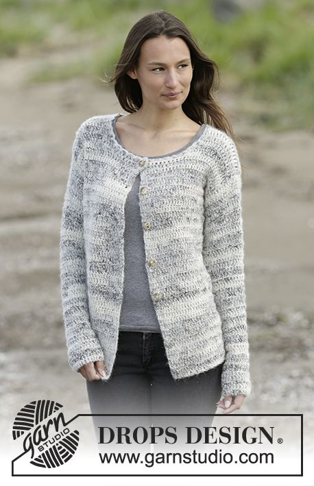 "#Crochet DROPS jacket with vent in ""Brushed Alpaca Silk"" and ""Fabel"".Free Pattern"