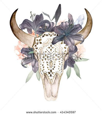Watercolor isolated bull's head with flowers and feathers on white background. Boho style. Ornamental skull on black background for wrapping, wallpaper, t-shirts, textile, posters, cards, prints - stock photo