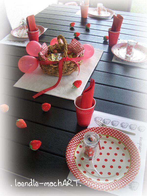Tischdeko Erdbeer