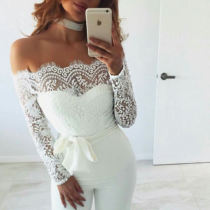 White lace neckline one piece jump suit bow