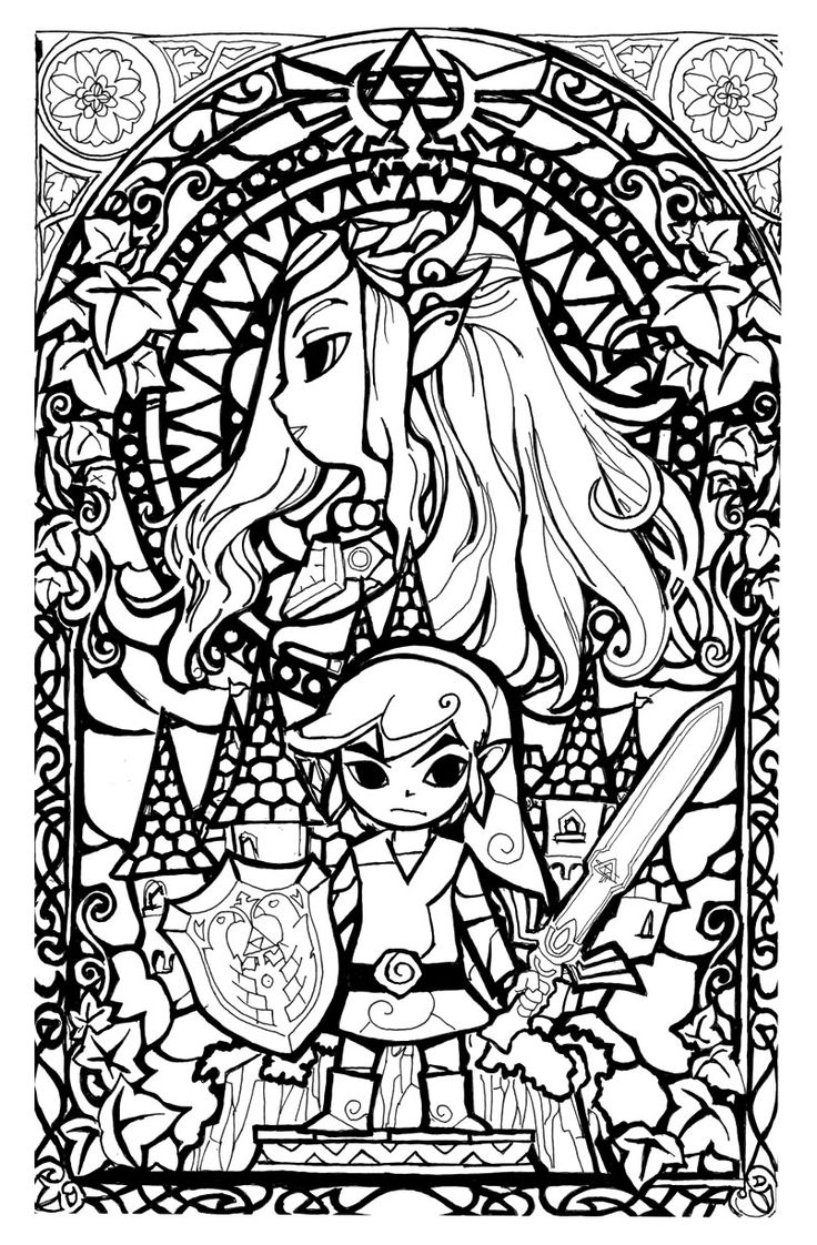 to print this free coloring page coloring legend of zelda stainglass style - Free Coloring Books