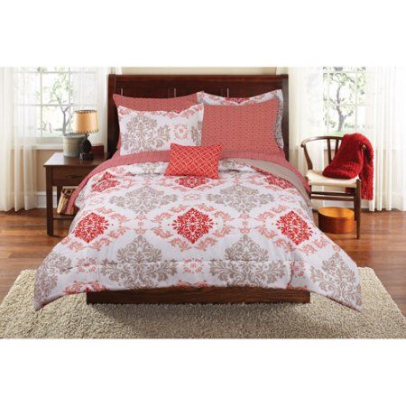 Free 2-day shipping. Buy Mainstays Coral Damask Bed in a Bag Complete Bedding Set at Walmart.com