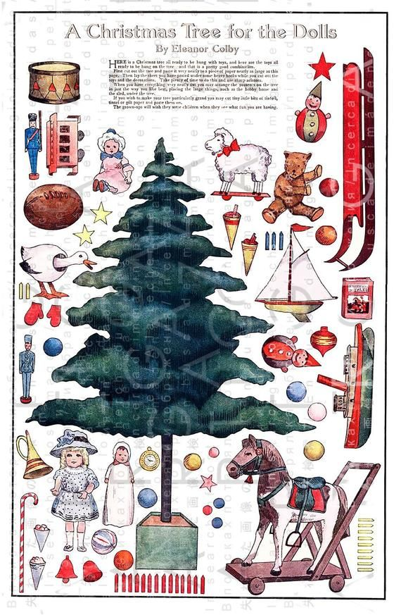 A Christmas Tree For The Dolls Printable Vintage Paper Toy Christmas Paper Dolls Vintage C Vintage Paper Dolls Victorian Paper Dolls Vintage Christmas Cards