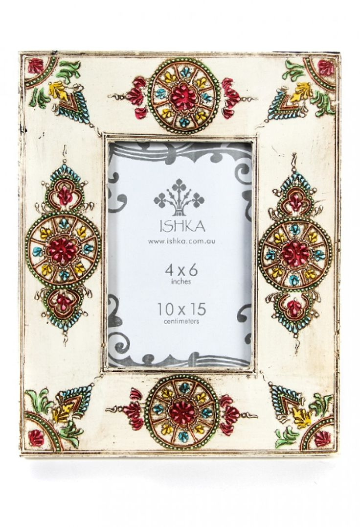 Henna Painted White Photo Frame
