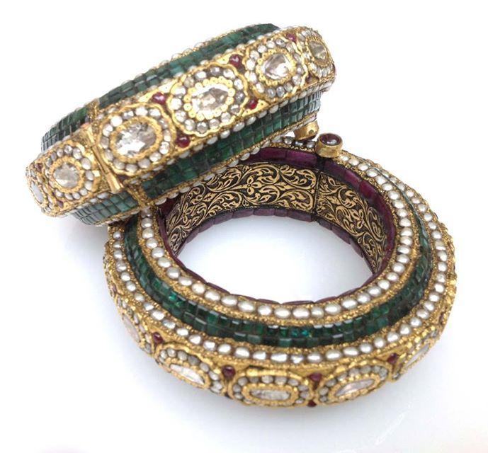 Polki Rubies and Emerald Kadas in Gold by Bespoke Vintage Jewellery Bangalore