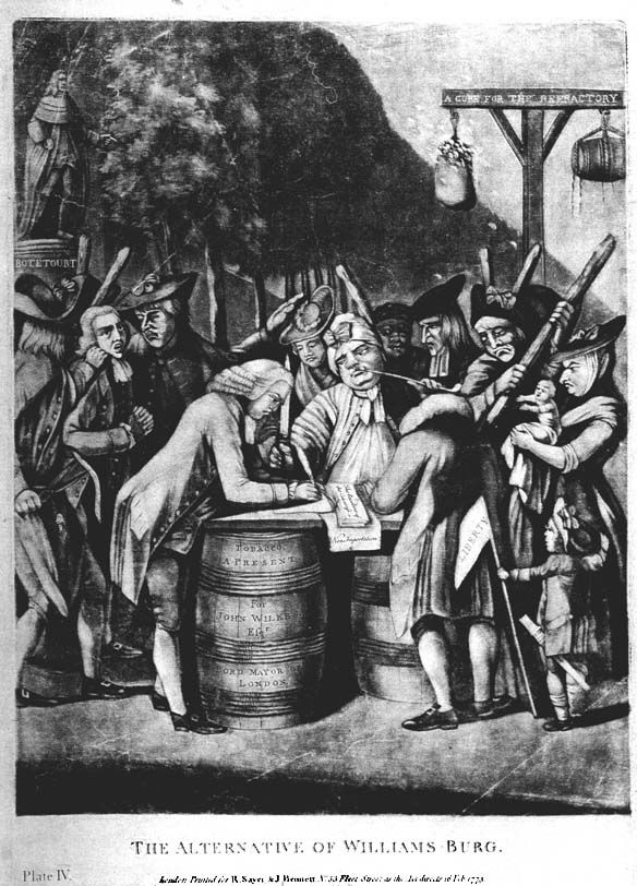 """The Alternative of Williams-Burg"" - This print shows colonial protest against the Intolerable Acts. In August 1774, Virginians were urged to sign a pledge of loyalty to the resolves of the Continental Congress and to stop the export of tobacco, the colonies' major and most profitable crop, until all taxes on imported goods were repealed. The pledge was known as the Williamsburg Resolutions."