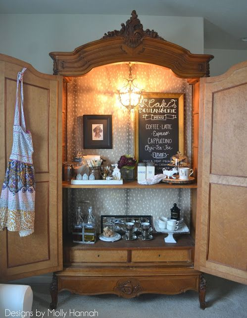 Espresso Bar Armoire Part Two: Installing DIY Removable Wallpaper Backdrop