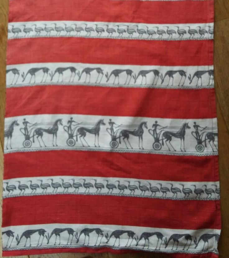 ICONIC vintage retro   1950s red African/ Greek chariot, animal motif barkcloth