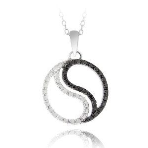 Black Diamond Accent Yin Yan Necklace In Sterling Silver