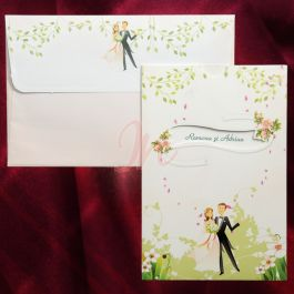 Invitatia este multicolora pe un fundal alb. In partea de jos observam un desen care ii intruchipeaza pe cei doi miri inconjurati de floricele. In partea de sus este decupat un chenar prin care se vad numele celor doi miri. De asemenea, si aici sunt inserate elemente florale. Plicul, avand aceleasi motive, este inclus in pret.  #invitatie de #nunta #mirese #miri #invitatii #elegante #originale