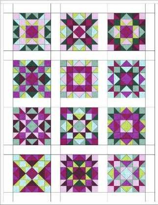 These are all the same pattern - great way of seeing how much color and value affect a block. I love this!