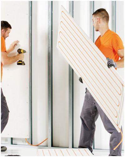 Kant-en-klare muurverwarming platen om tegen regelwerk te bevestigen. Lage temperatuur, energiezuinig en snel te installeren