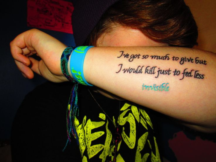 Pierce the veil quote tattoos done july 5 2013 in eau for Eau claire tattoo