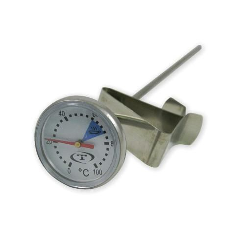 This Long Coffee Thermometer has a 28mm face diameter, stainless steel clip and 200mm probe. Non adjustable thermostat. Carton Qty 10.