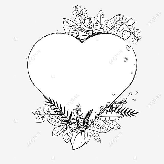 Gambar Tumbuhan Tropika Doodle Bingkai Hati Sempadan Vektor Putih Hitam Coretan Tropika Tanaman Png Dan Vektor Untuk Muat Turun Percuma Border Black And White Heart Frame Border Heart Frame