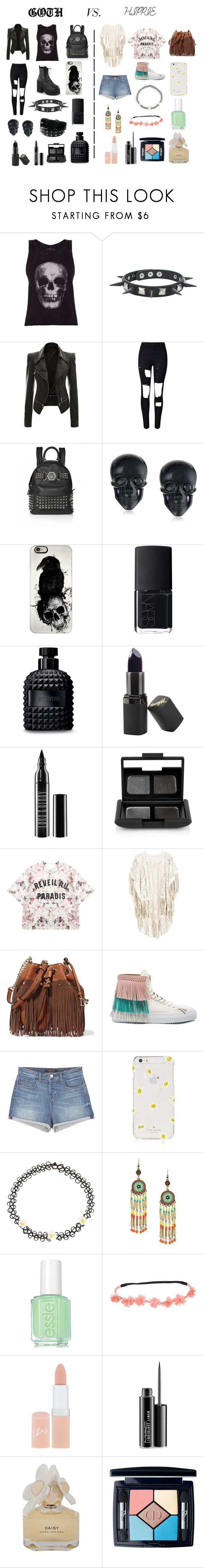 """""""Goth vs. Hippie"""" by gizemgonenc ❤ liked on Polyvore featuring ElevenParis, Hot Topic, WithChic, Tarina Tarantino, Casetify, NARS Cosmetics, Valentino, Barry M, Lord & Berry and Momewear"""
