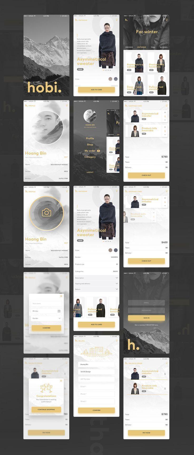 Hobi - Free UI PSD Mobile App. If you like UX, design, or design thinking, check out theuxblog.com