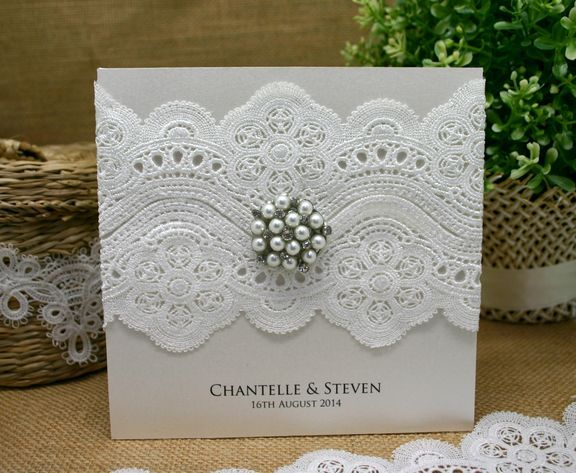 Wedding invitation embellished with plain lace crochet LC601 & pearl brooch MBR15.  www.embellishmentgallery.com.au