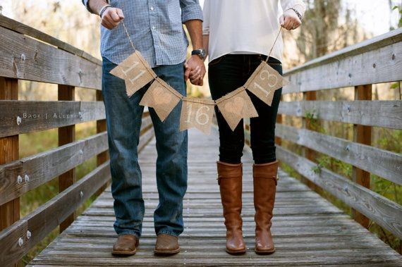 SAVE THE DATE burlap banner - save the dates - Wedding Banner - engagement pictures - Peach hearts - Photography prop on Etsy, $25.00
