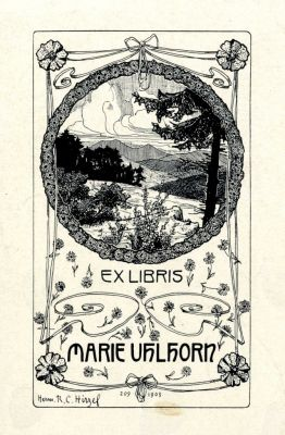Bookplate by Herman Robert Hirzel Catumby for Marie Uhlhorn, 1903