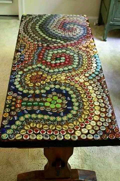 Mosaic table top done out of bottle caps