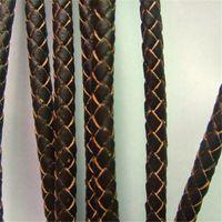 6 mm rodada Brown Bolo trançado cordão de couro genuíno Real para os acessórios da jóia