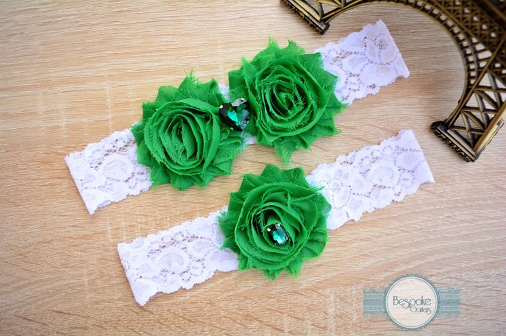 Flower Lace Wedding Garter Set, Handmade with White Lace & Crystal Teal Rhinestone - by BespokeGarters by BespokeGarters on Etsy