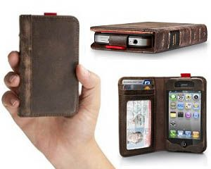iPhone Leather Book Case: The BookBook iPhone Leather Book Case is a stylish two in one iPhone cover and wallet that perfectly stores your phone, credit cards, ID, and small bills. Made from genuine leather, this iPhone case makes a cool gift for iPhone users who like organization.