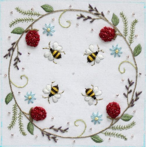 bee crewel embroidery