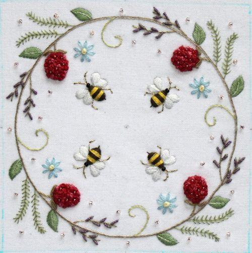 bee crewel embroidery