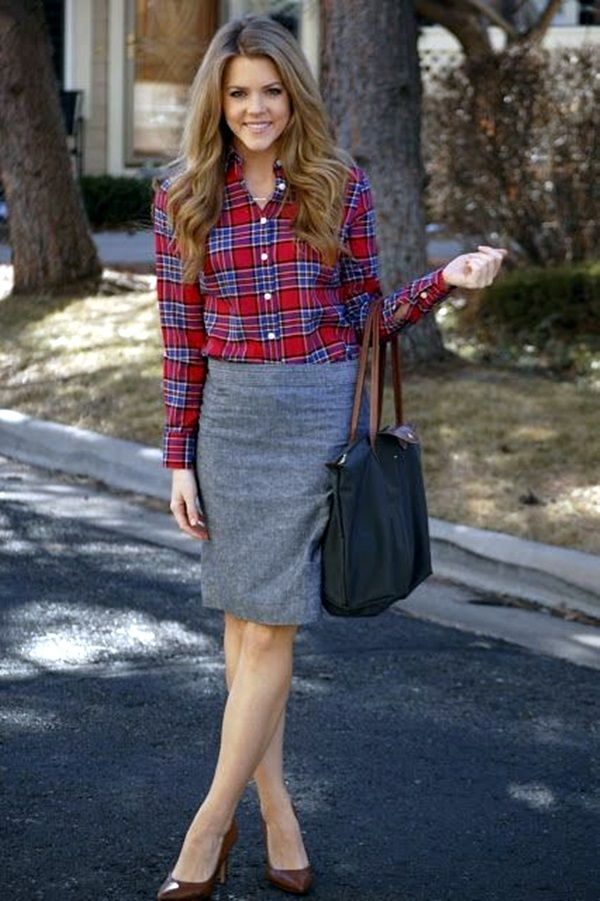 75 Non-Boring Work Outfits To Wear This Fall - I'd like a real plaid shirt with thick material