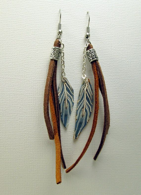 Long dangle earrings with polymer clay by polymerclaybijoux