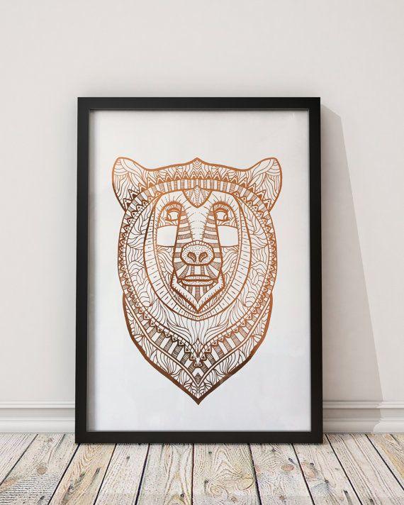 Copper Foiled Bear Unframed A3 Print By StudioKuma On Etsy