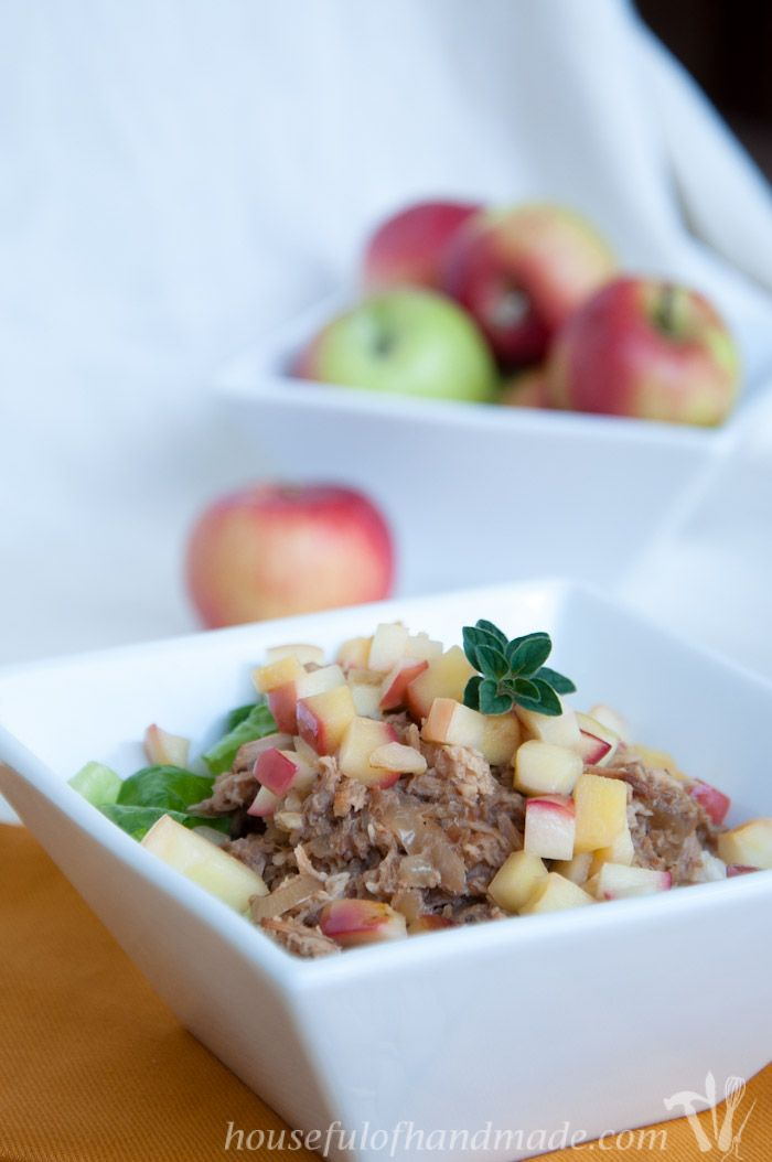 A new twist on the classic pork chops and applesauce. These easy slow cooker pork and apples rice bowls combine a sweet and tangy pork with fall apples. Recipe on housefulofhandmade.com. #TriplePFeature