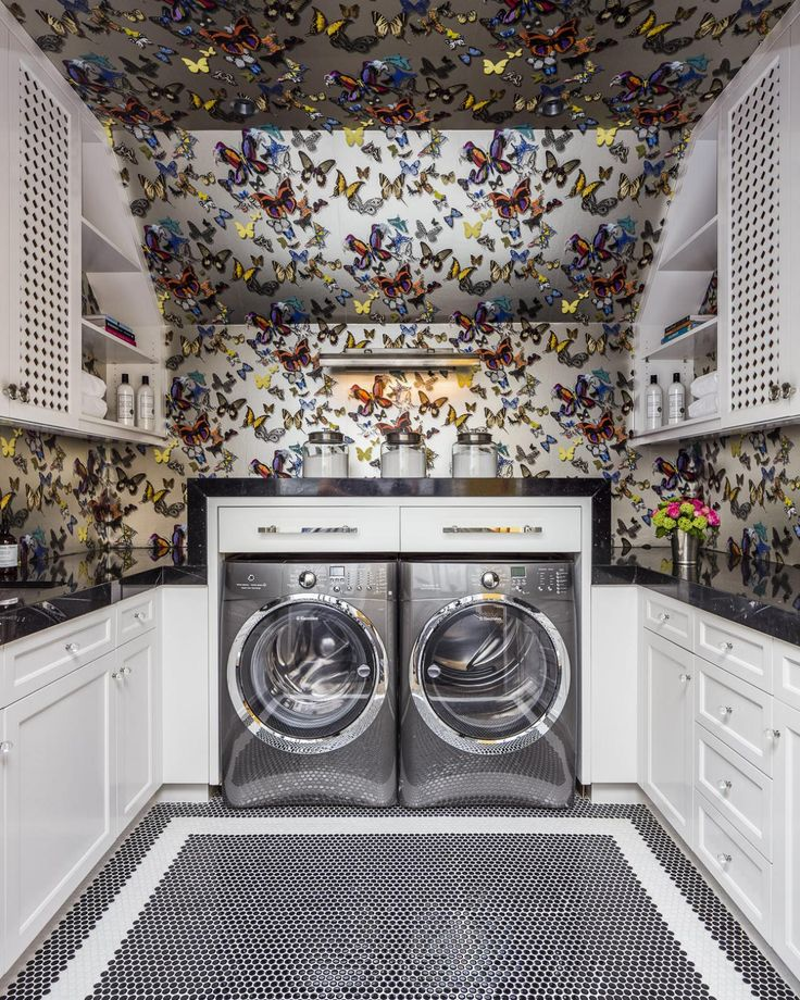 Makes us want to do #laundry! Butterfly Print Wallpaper Brings Laundry Room to Life