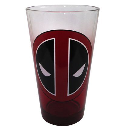 This clear, solid pint glass is partially colored in a rising, faded red, layered by a rather large and circular Deadpool symbol. Deadpool fans rejoice!