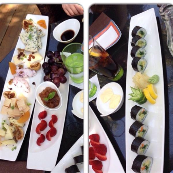 Variety of cheeses & Sushi  by Linda