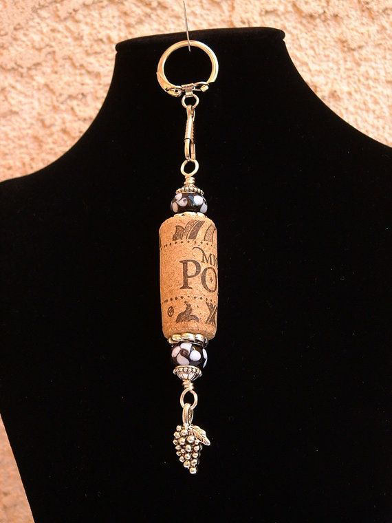 Beaded Wine Cork Keychain by SoftStuf on Etsy, $7.95