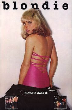 BLONDIE: PLASTIC LETTERS (1977) For the cover of the second Blondie album, Plastic Letters (Chrysalis, 1977), Deborah Harry wore a hot pink dress with a pencil skirt designed by Anya Phillips, wife of James Chance and co-founder of the Mudd Club. Harry performed in the dress as well.