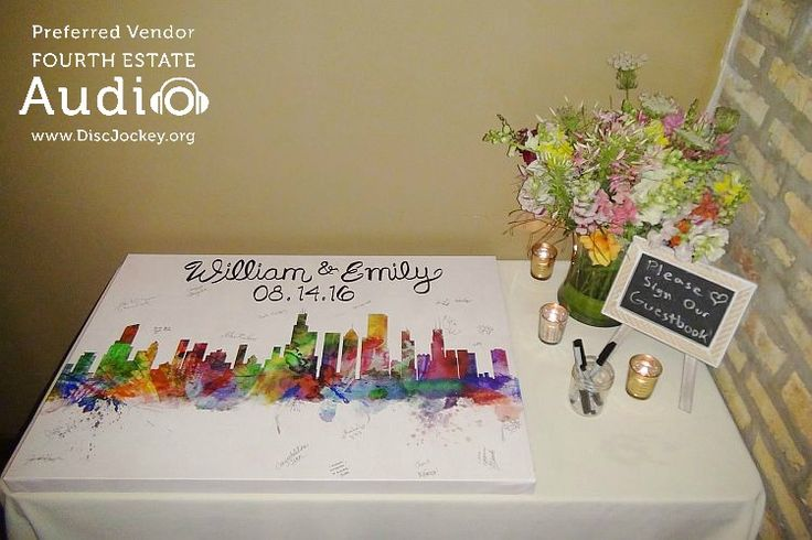 Emily and William's guests were invited to sign this colorful cityscape poster, which will hang in a place of honor in their home. http://www.discjockey.org/real-chicago-wedding-august-14-2016/