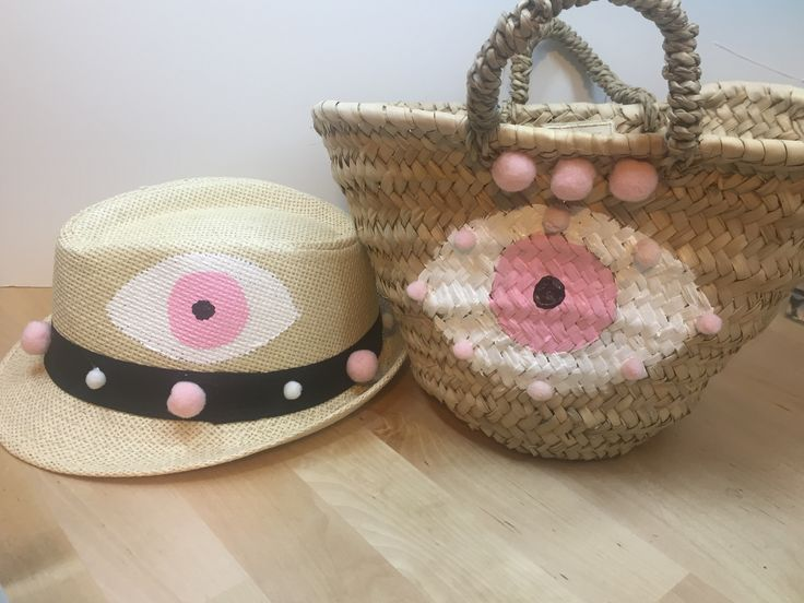 evileye baby hat & straw baby basket by cottonprince.gr