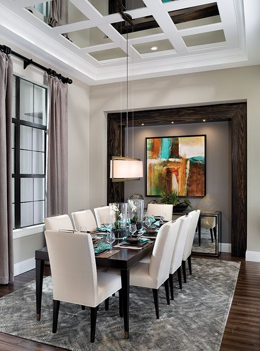 25 best ideas about mirror ceiling on pinterest for Model home dining room