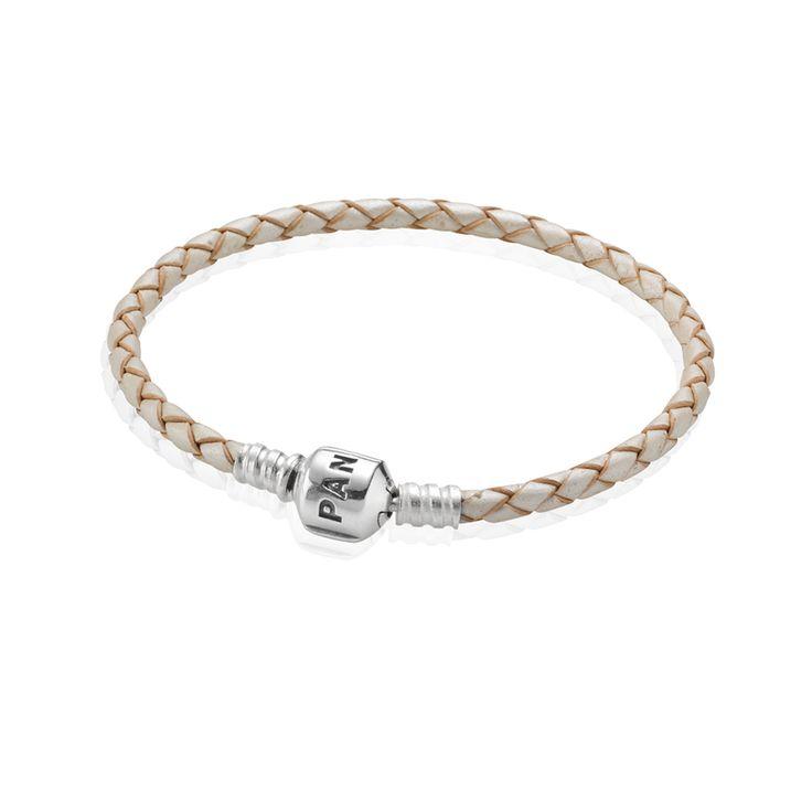 Moments Single Woven Leather Bracelet - Pearl | PANDORA eSTORE