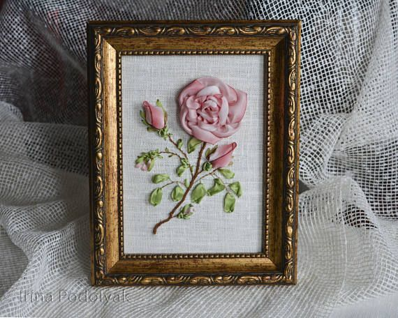 Rose Silk Ribbon Embroidery  Framed Picture Textile Wall Art